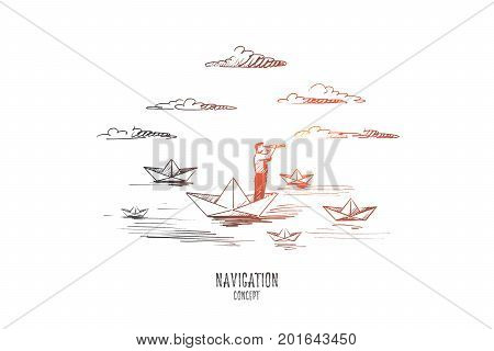 Navigation concept. Hand drawn sailor man looks into the telescope. Navigating in sea isolated vector illustration.