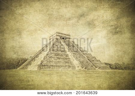 Vintage image of El Castillo or Temple of Kukulkan pyramid Chichen Itza Yucatan Mexico