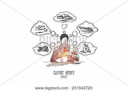 Saving money concept. Hand drawn saving money for vacation, retirement in piggy bank. Person put coin in money box isolated vector illustration.