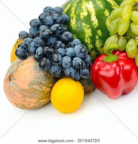 set of fruit and vegetable isolated on white background