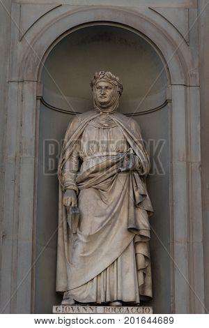 Giovanni Boccaccio. Statue in the Uffizi Gallery, Florence, Tuscany, Italy