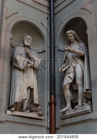 Galileo Galilei and Pier Antonio Micheli. Statues in the Uffizi Gallery, Florence, Tuscany, Italy
