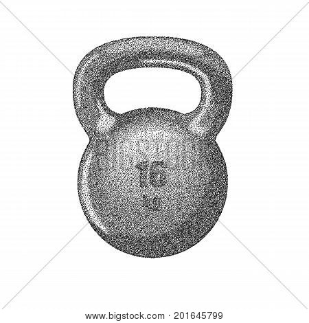 Kettlebell icon with handle for muscle strength training, a stipple effect heavy weight. Isolated on white background.
