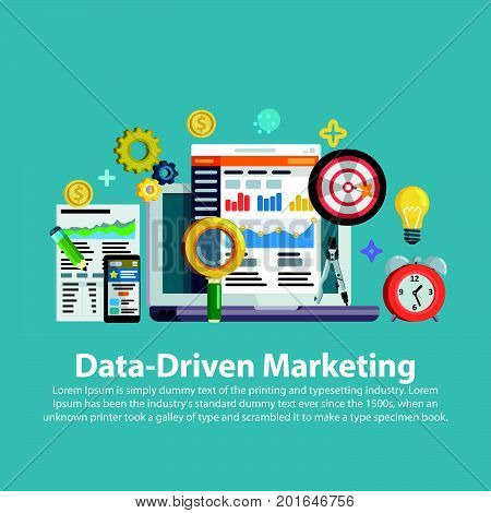 Business growth analytics and valuation development. Data driven marketing strategy. Web template in flat style. Business development, lead generation, revenue increase. Vector illustration.
