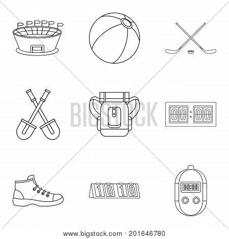 Stopwatch icons set. Outline set of 9 stopwatch vector icons for web isolated on white background