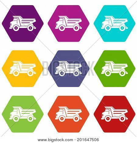 Dump truck icon set many color hexahedron isolated on white vector illustration