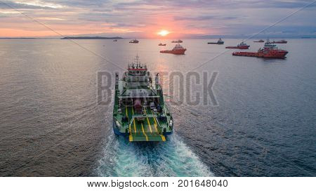 Labuan,Malaysia-Feb 14,2016:Ferryboat sailing on the sea at sunrise Labuan island,Malaysia.This is the most economical transportation connect Labuan island & Sabah,Borneo.