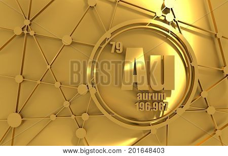 Gold chemical element. Sign with atomic number and atomic weight. Chemical element of periodic table. Molecule And Communication Background. Connected lines with dots. 3D rendering.