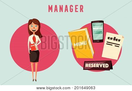 Restaurant manager. Cartoon vectror illustration. Hostess in cafe. Worker. Meet and reserved