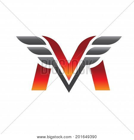 letter M with wing logo vector concept