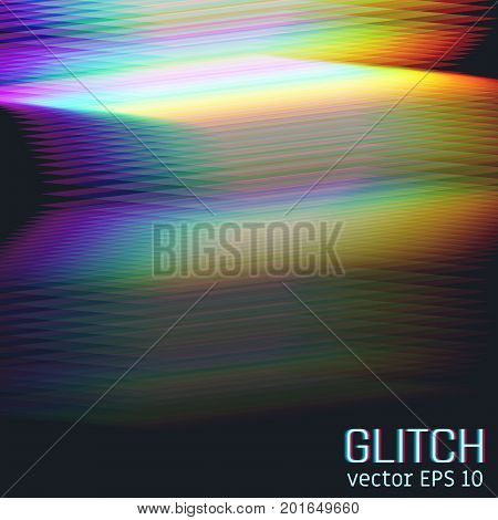 Glitch effect of horizontal stripes. Illustration of colorful night lights. Abstract background. Element of design. Vector illustration.
