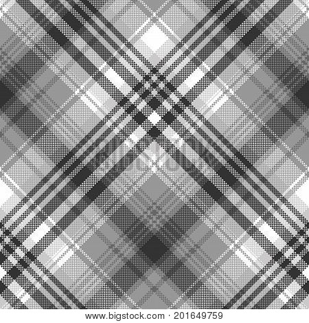Gray black white pixel check plaid seamless pattern. Vector illustration.