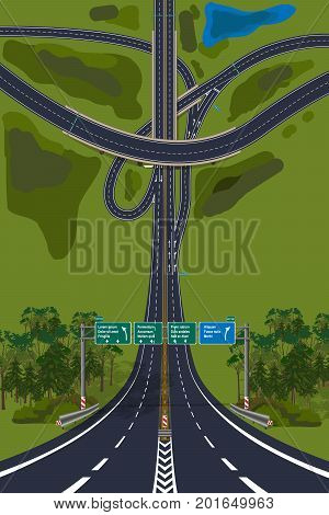 Aerial View - Top View Roads Intersections Highways vector illustration.