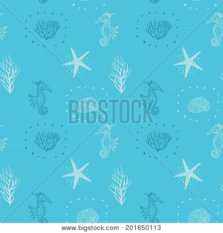 Seamless Pattern With Contours Of Seashells Starfish And Seahorse. Seamless For Fabric Design Gift Wrapping Paper And Printing. Hand Drawing Doodle Colorful Background.