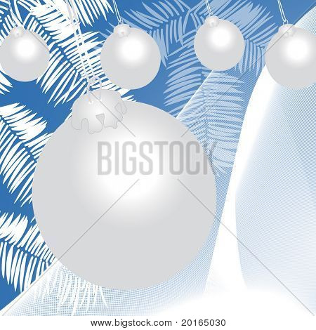 christmas ball in white with netting and branches