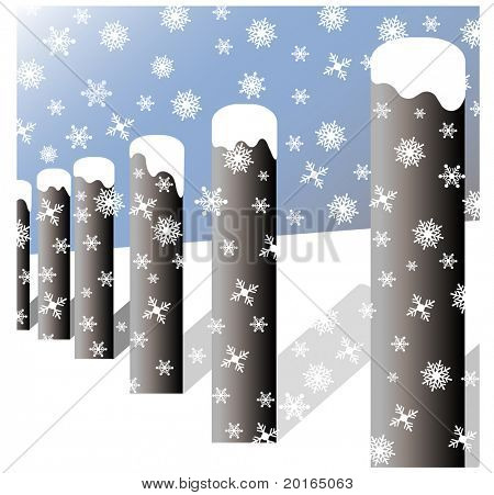 snowfall on fenceposts
