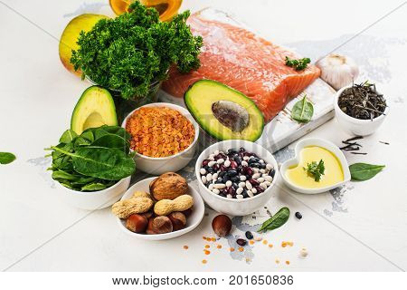Low cholesterol food. Healthy heart nutrition. Space for text