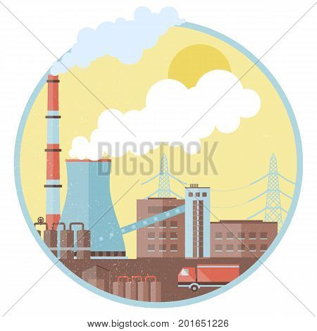 Industrial factory template with pipes buildings smoke two chimneys truck harmful emissions in circle isolated vector illustration