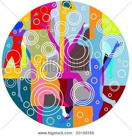 collage de gente bailando con círculos