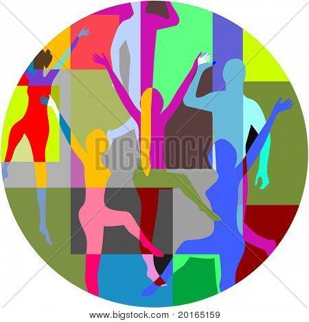 collage de machos y hembras bailando