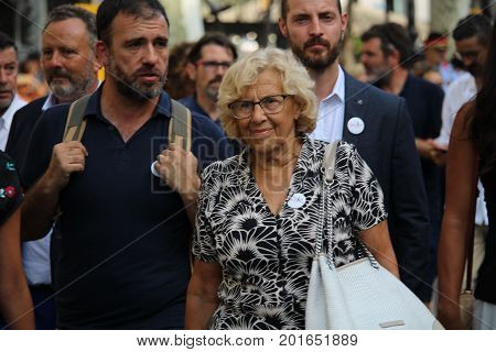BARCELONA/SPAIN - 26 AUGUST 2017: Mayor of Madrid Manuela Carmena on her way to the protest against terrorism in Barcelona, where participated over 500.000 people