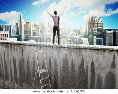 The Concept Of The Pursuit Of Success A Man On Top Of The Wall  3D Render
