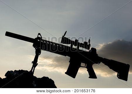 sniper rifle isolated & gun sectorel silhouette