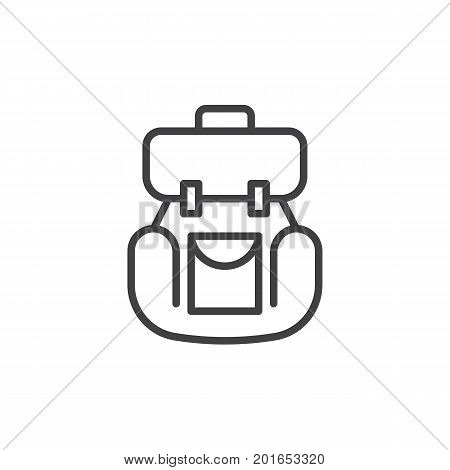 Backpack line icon, outline vector sign, linear style pictogram isolated on white. Rucksack symbol, logo illustration. Editable stroke. Pixel perfect vector graphics