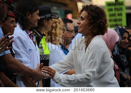 BARCELONA/SPAIN - 26 AUGUST 2017:Spanish ministry of defense Dolors Catalá meeting the fireworkers, taxi drivers, medical emergency services that gave first aid during the Barcelona attack