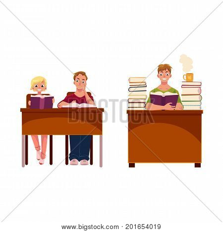 People, couple and single man, reading books in library, cartoon vector illustration isolated on white background. Young people, students, man and woman and one guy reading, studying in library