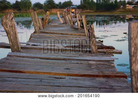 Kae Dam Wooden bridge, Kae Dam, Mahasarakham, Thailand