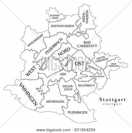 Modern City Map - Stuttgart City Of Germany With Boroughs And Titles De Outline Map
