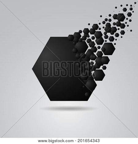 Abstract hexagon geometric background black explosion broke spread. vector illustration
