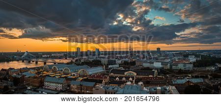 Panorama Of The City From The Top, Riga In Sunset Light, Latvia