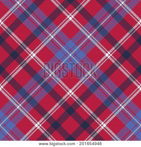 red tartan pixel texture fabric plaid seamless pattern. Vector illustration.