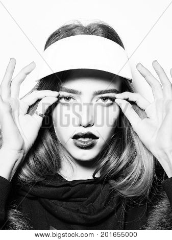 Model Or Woman With Long Hair In Sport Cap