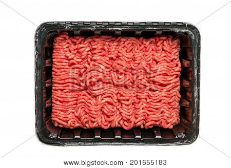 Raw Minced Meat in a Black Plastic Container Isolated on a White Background.