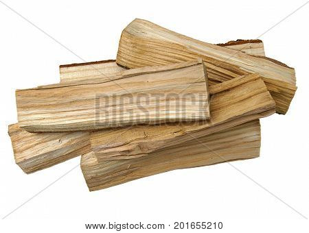 Wooden logs as firewood isolated on a white background