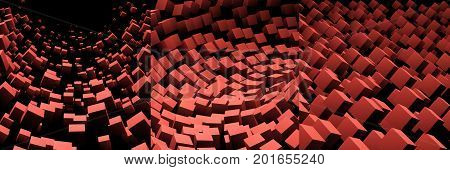 3D flying cube background. Set of three abstract futuristic backgrounds. ESP 10, vector illustration.