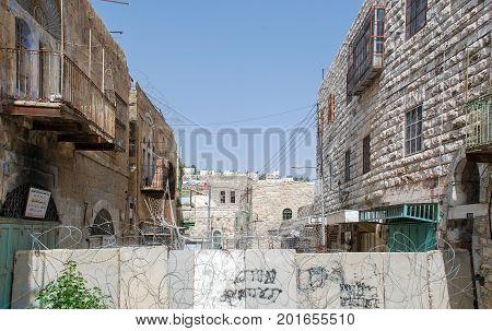 HEBRON, ISRAEL - APRIL 12, 2009: Houses in Hebron
