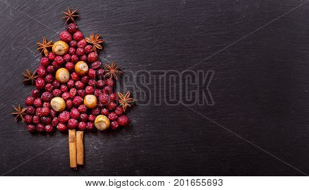 Christmas Tree Made Of Dried Cranberries And Nuts, Top View