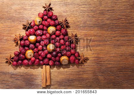 Christmas Tree Made Of Dried Cranberries