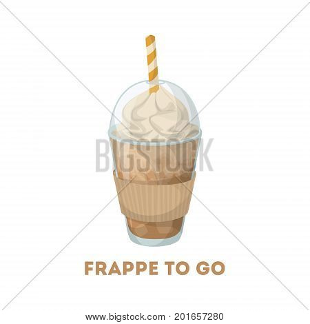 Frappe to go. Isolated plastic coffee cup with straw and whipped cream.