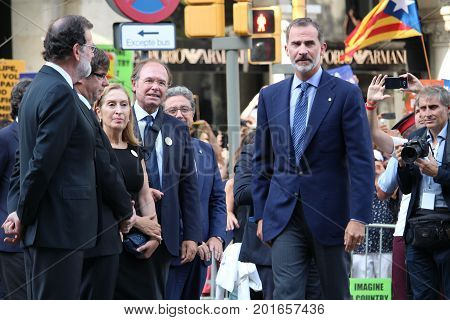 BARCELONA/SPAIN - 26 AUGUST 2017: King of Spain Felipe VI participating to the protest against terrorism in Barcelona. It is the first time a king of Spain participates in a demonstration