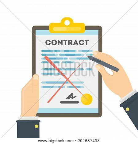 Rejecting the contract. Hands holding the contract with red lines. Hand with red pen.
