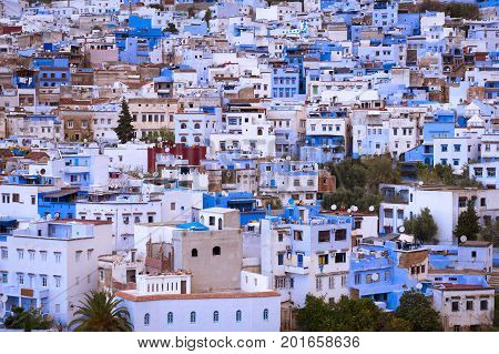 Detail of the buildings in the beautiful town of Chefchaouen in Morocco North Africa; Concept for travel in Morocco