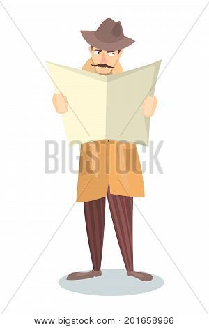 Isolated detective with newspaper in raincoat on white background.