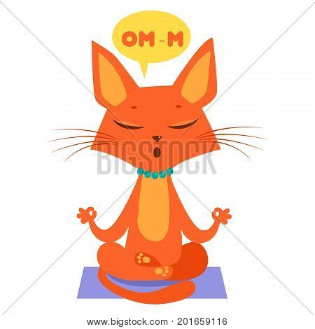 Meditating Yoga Cat Vector. Funny Cartoon Cat Practicing Yoga. Join In Yoga Session. The Mewest Exercise.