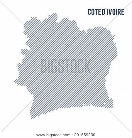 Vector Abstract Hatched Map Of Cote D'ivoire With Oblique Lines Isolated On A White Background.