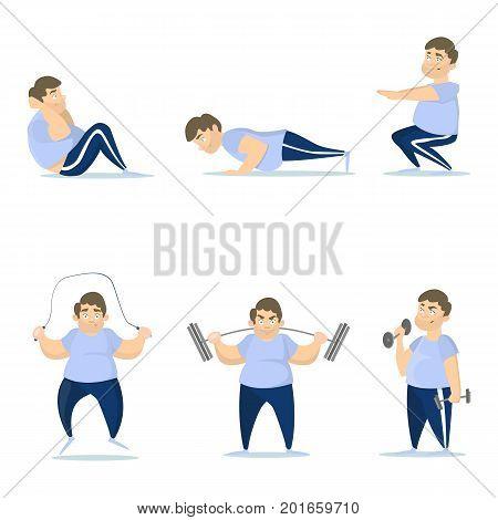 Fat man training set on white background. Jumping, squats and push ups.